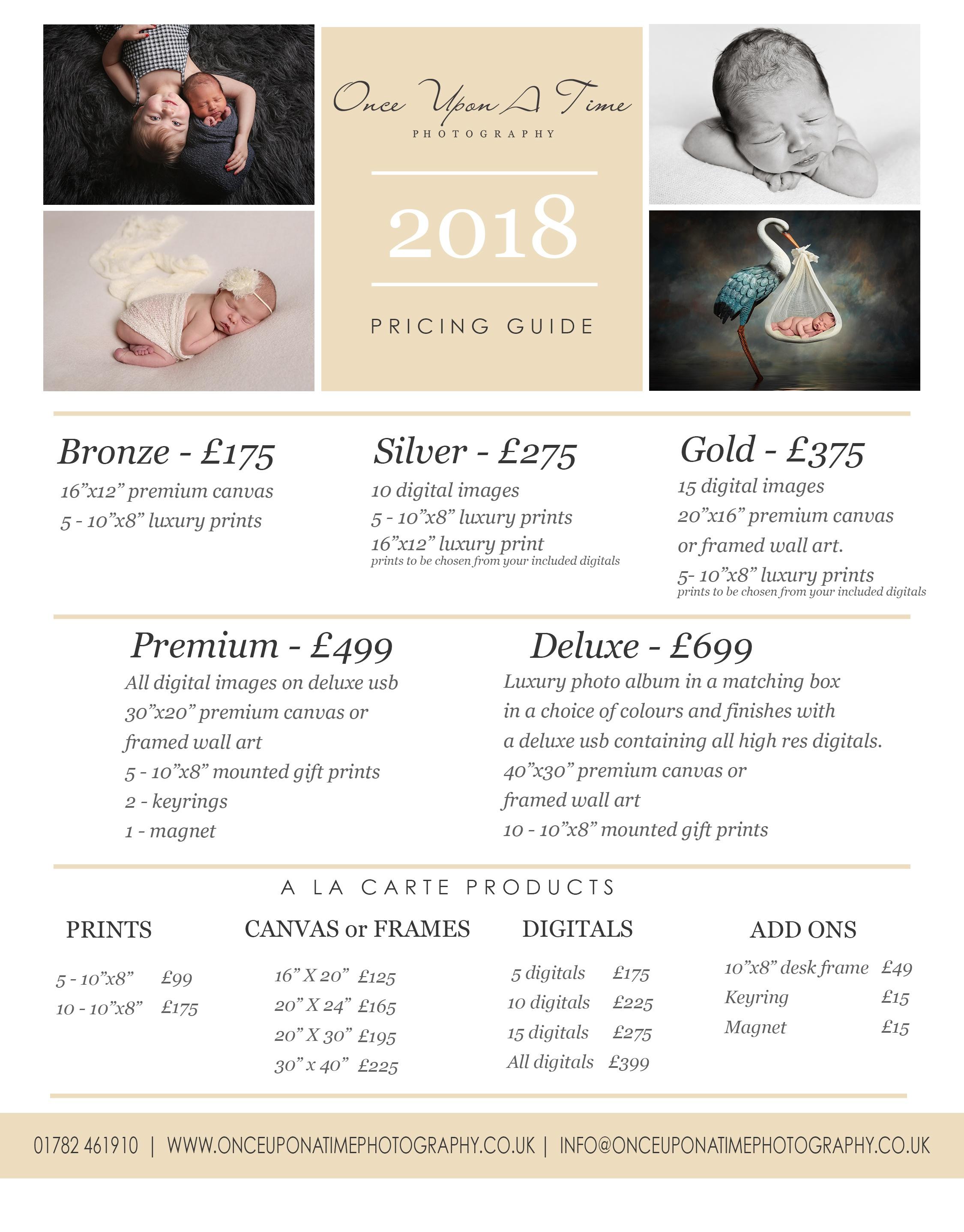 2018 pricing list